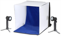 A portable photo studio with lamps