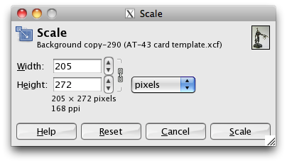 "GIMP ""Scale"" window"
