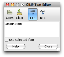 GIMP text editor window