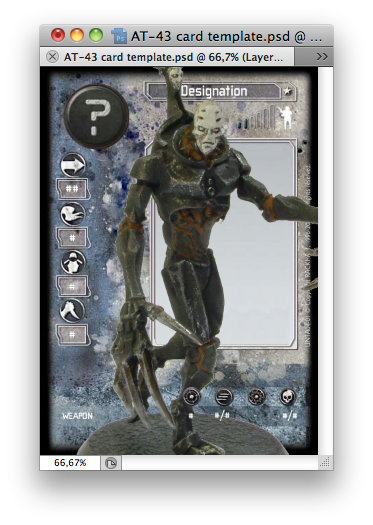 Photoshop window with grim golem overseer on card template