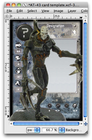 GIMP window with grim golem overseer on card template