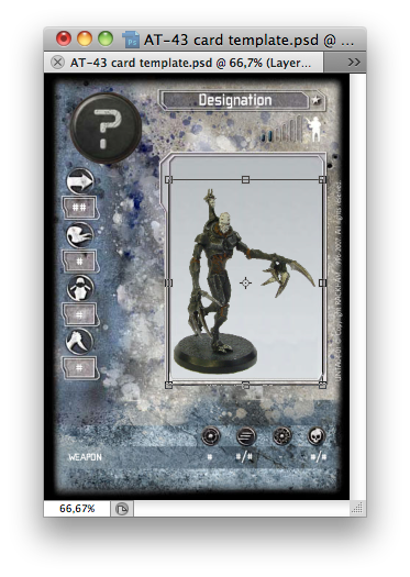 Photoshop window with grim golem overseer resized to fit neatly on card