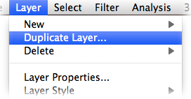 "Photoshop ""Layer"" menu with ""Duplicate…"" option highlighted"
