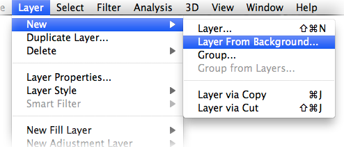 "Photoshop ""Layer From Background"" menu option"
